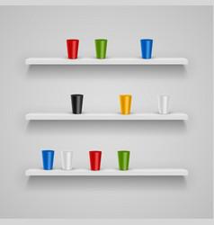 Set wood shelves vector
