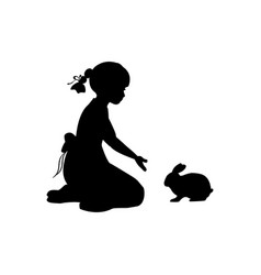 silhouette girl sitting knees beckon rabbit vector image