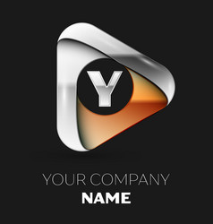 silver letter y logo in golden-silver triangle vector image