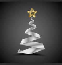 Simple christmas tree made from metalic stripe - vector