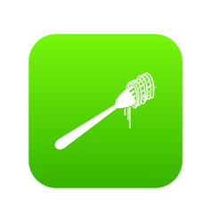 spaghetti on a fork icon digital green vector image