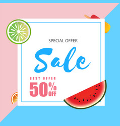 special offer sale best offer 50 off watermelon a vector image