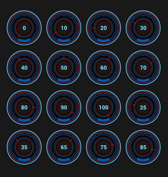 Speedometer and indicators icons set on dark vector
