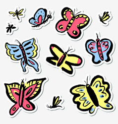 Stickers set with cute butterflies collection vector