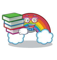 Student with book colorful rainbow character vector