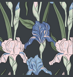 summer iris blossom print modern bloom botany vector image