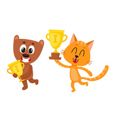 teddy bear and red characters champions holding vector image