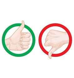 Thumb up thumb down symbols vector