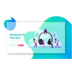 tiny characters use wireless headphones landing vector image