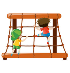 two boys climbing up the rope vector image