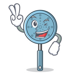 Two finger skimmer utensil character cartoon vector