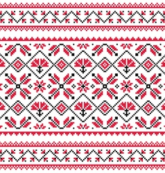 Ukrainian Slavic folk knitted red emboidery print vector
