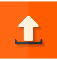 Upload icon send file flat design vector
