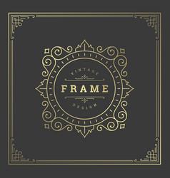 Vintage flourishes ornament swirls lines frame vector
