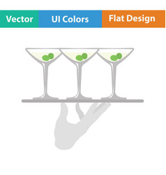 Waiter hand holding tray with martini glasses icon vector