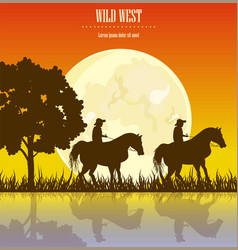 wild west sunset cowboy men vector image