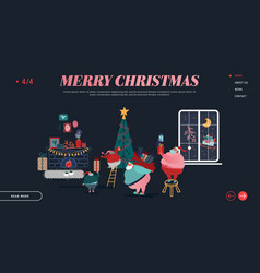 winter holidays landing page template merry vector image