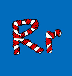 wrapped in a ribbon letter r blue and red letter vector image