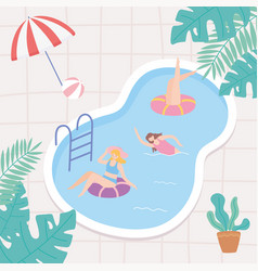 young people on vacation in pool playing and vector image