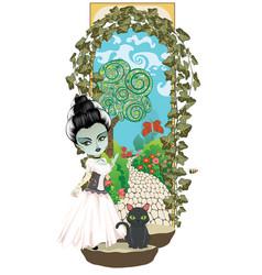 Zombie girl and secret garden vector