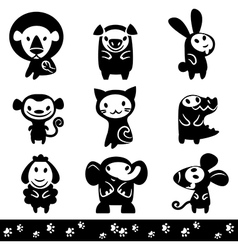 zoo collection animals silhouette vector image