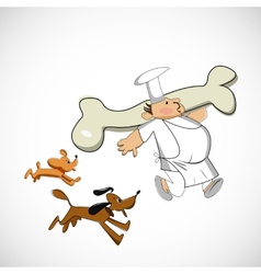 Chef carrying a bone for dogs sketch vector image