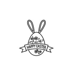 happy easter egg with ribbon bunny ears line icon vector image vector image