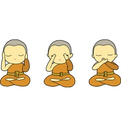 Little monks closing ears eyes and mouth vector image vector image