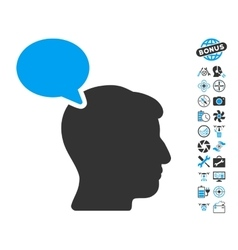 Person Opinion Icon With Air Drone Tools Bonus vector image vector image