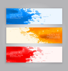 abstract grunge ink splash web banners template vector image