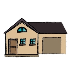Drawing house modern style with garage vector