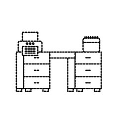 office desk printer paper and calendar workspace vector image vector image