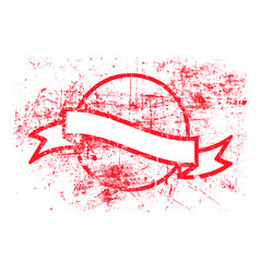 red circle grunge rubber stamp and ribbon vector image vector image