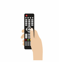 remote control for tv hand holding tv remote vector image vector image