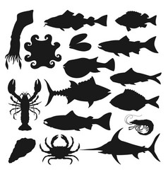 seafood silhouette set vector image