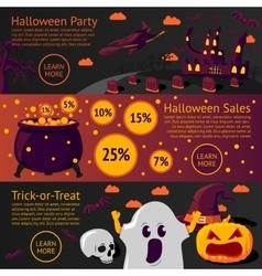Set of halloween flat banners - Halloween party vector image vector image