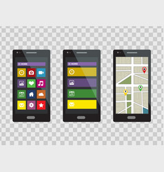 smartphone set isolated on a transparent vector image