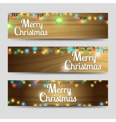 Wood with garlands Merry Christmas banners vector image vector image