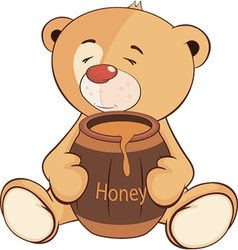 A stuffed toy bear cub and a barrel of honey vector image vector image