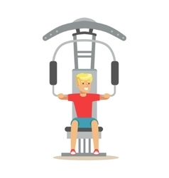 Man doing arms exercise with equipment and weight vector