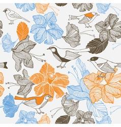 Vintage Bird Floral Pattern vector image vector image