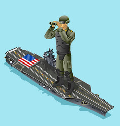 watching soldier over aircraft carrier of vector image vector image