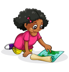 A Black young girl studying vector image