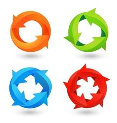 Circle arrow icons set vector