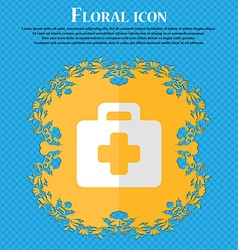 first aid kit Floral flat design on a blue vector image vector image