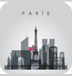 gray paris skyline card vector image