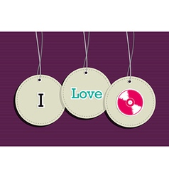 Hanging i love music badges vector image vector image