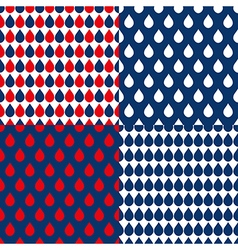 Set Navy Blue Red Water Drops Background vector image vector image