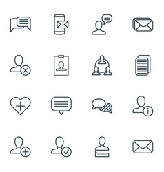 set of 16 social network icons includes mailbox vector image vector image