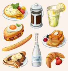 Set of french breakfast elements vector image vector image